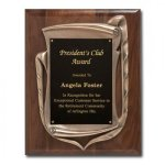 Antique Bronze Frame with Walnut Plaque Achievement Awards