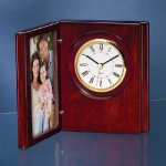 Wood Book Clock with Photo Frame Desk Clocks