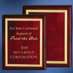 Piano Finish Wood Plaque with Brass Border Wood Metal Accent Awards