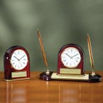 Desk Clock - Domed Wood Metal Accent Awards